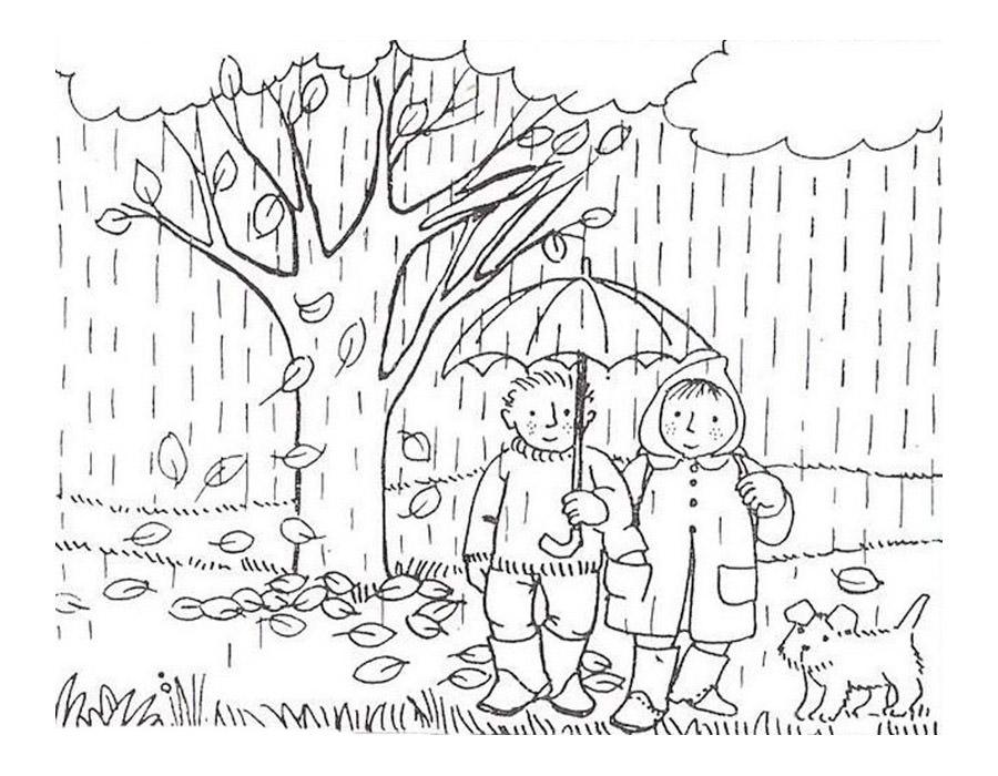 Раскраска девочка осень - 3