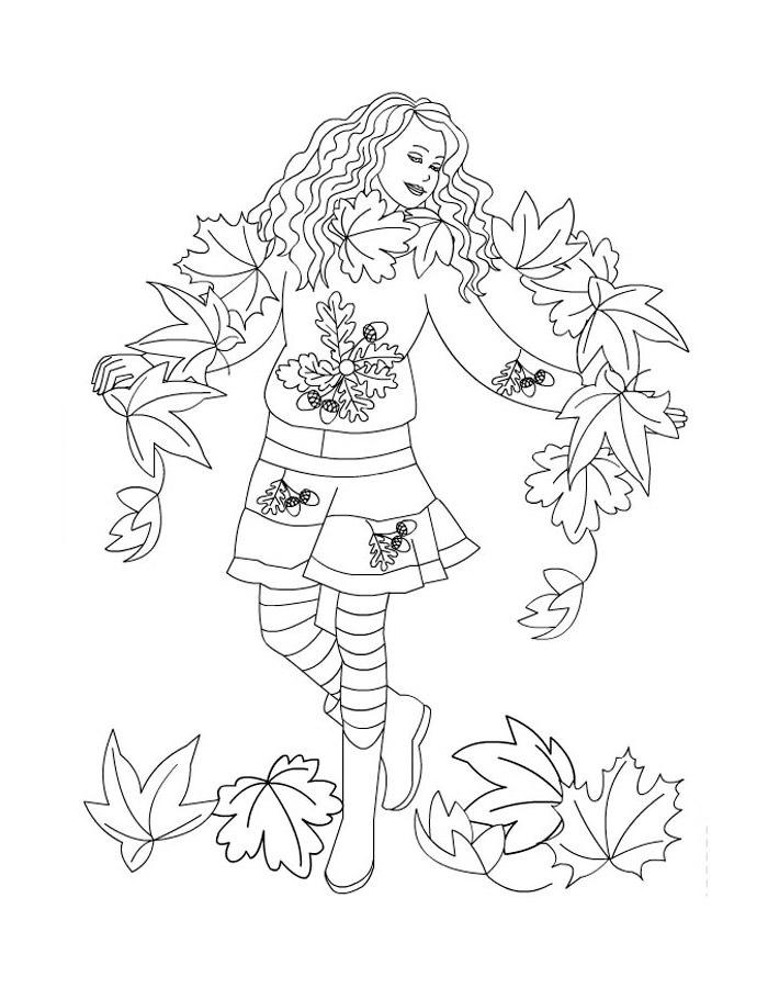 Детские раскраски для девочек и мальчиков, королева осени