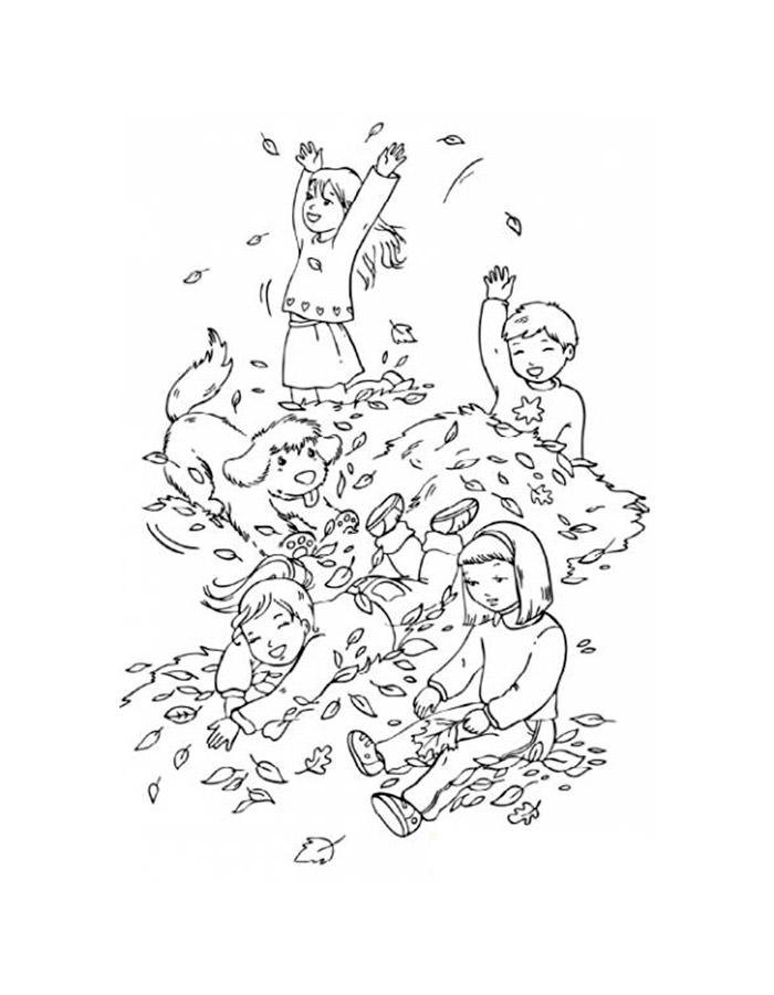 Раскраска девочка осень - 5