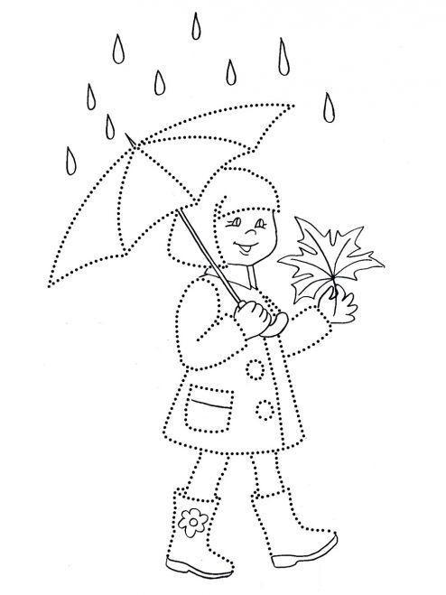 Раскраска осень, девочка под зонтиком с листочком, дождь