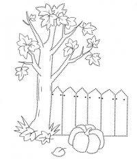 Раскраска осень, тыква возле дерева