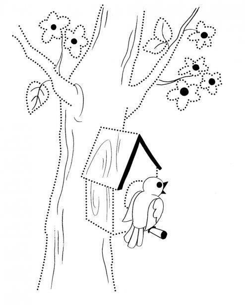 Раскраска весна, птица на жердочке скворечника