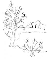 Раскраска весна, дерево, птица, цветы