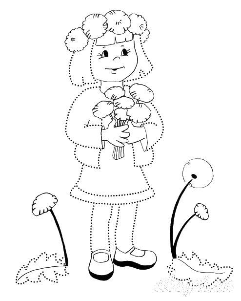 Раскраска весна, девочка с одуванчиками