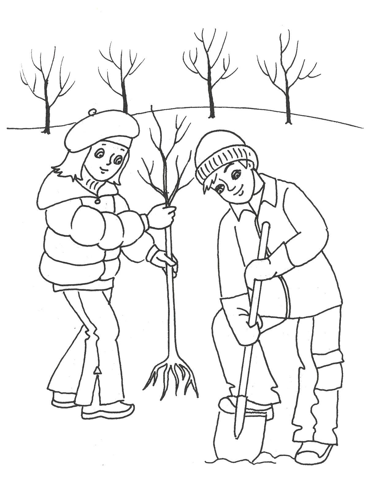 Разукрашки с праздником весны марта, дети сажают деревья