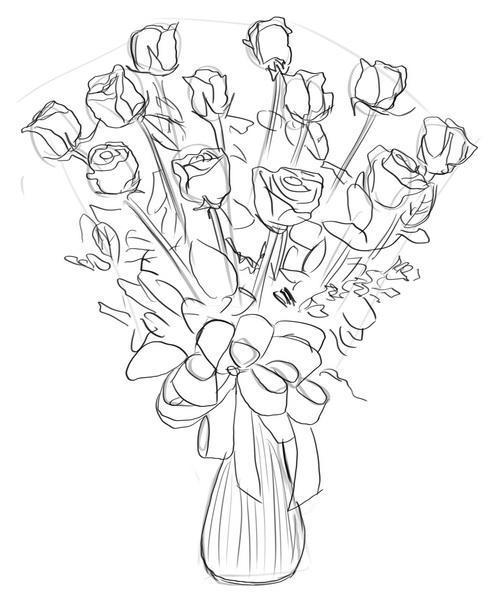 Как нарисовать букет роз карандашом поэтапно