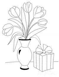 Раскраска весна, тюльпаны в вазе и подарок