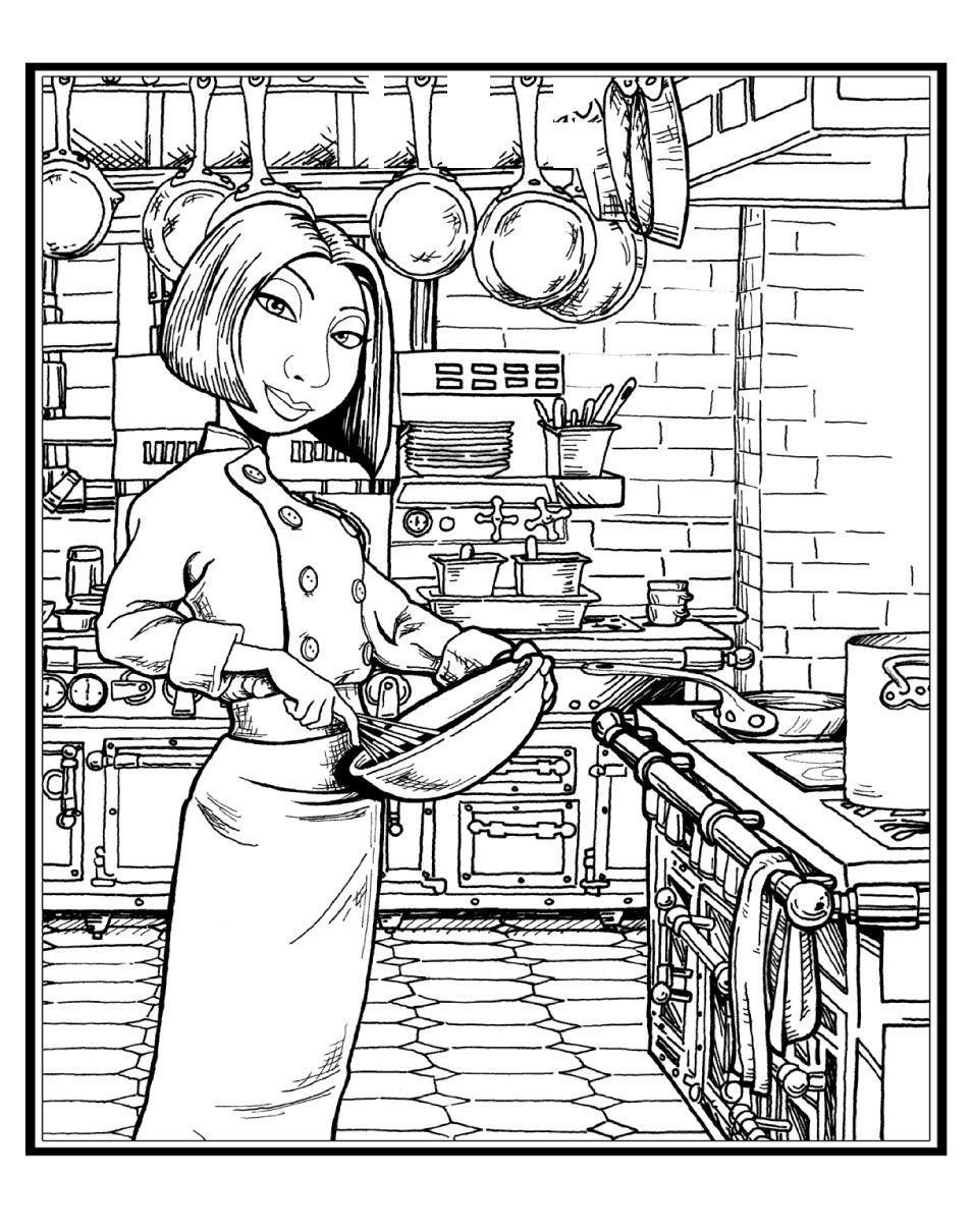Раскраски посуда рататуй, повар, колетт, посуда, кухня