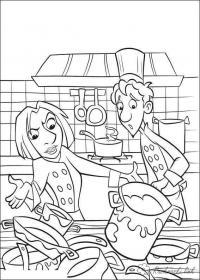 Раскраски посуда рататуй, повар, колетт, лингвини, посуда