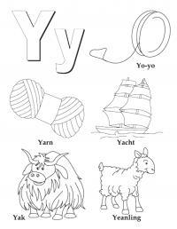 Раскраски английский алфавит для детей, пряжа, корабль, як