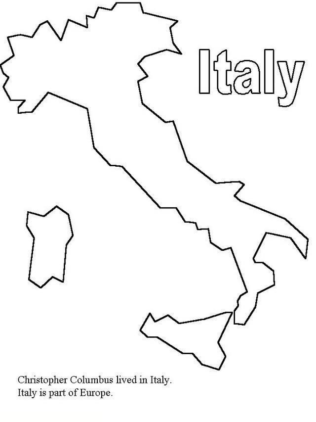 Раскраски страна путешествие страна европа италия карта