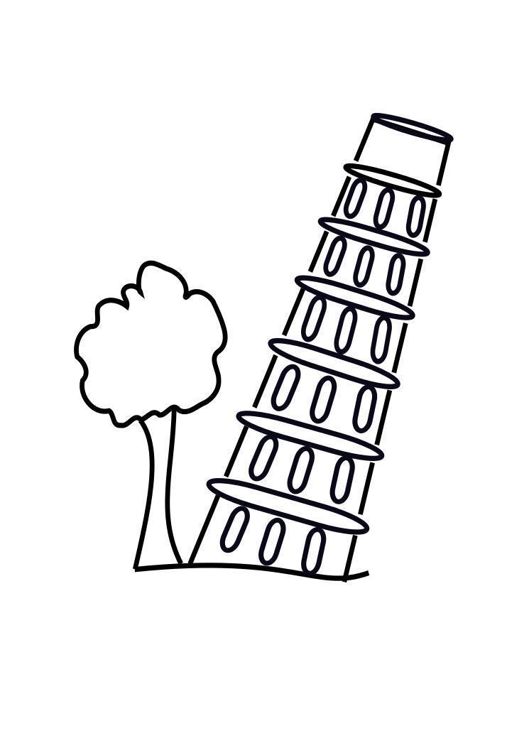 Раскраски страна путешествия европа страна башня пизанская башня