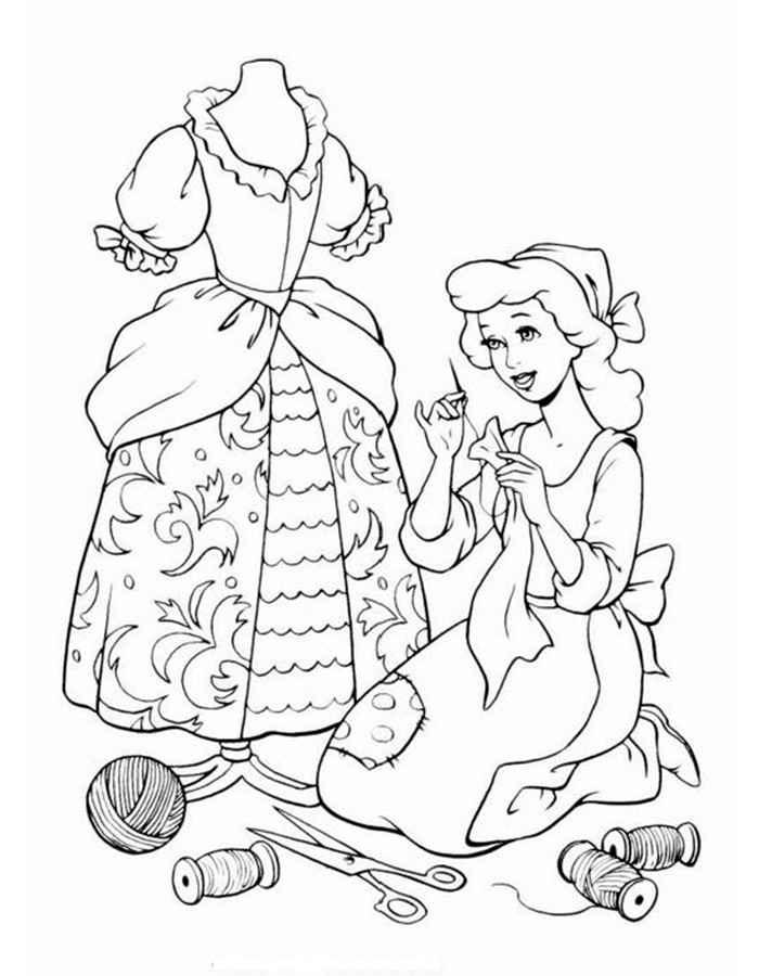 детские раскраски для девочек и мальчиков золушка шьет