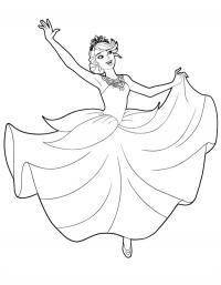 Детские раскраски для девочек и мальчиков. балерина в длинном платье