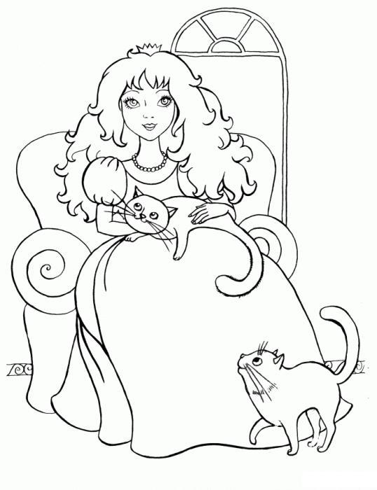 Раскраски персонаж девочка, девочкам, принцесса, персонаж, кошки