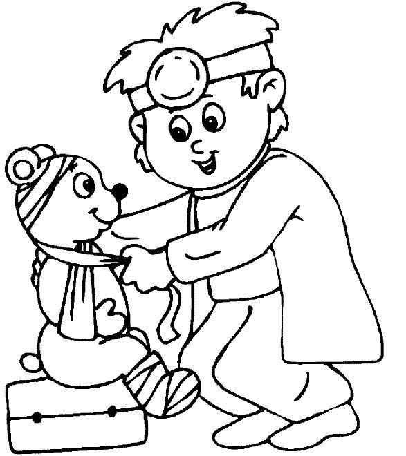 Раскраски защиты праздник 1 июня день защиты детей мальчик доктор игра игрушка медведь