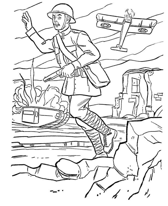 Раскраска 23 февраля - открытка война