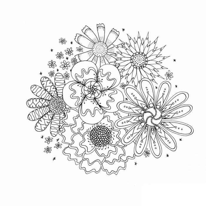 Цветы медитативная раскраска для взрослых