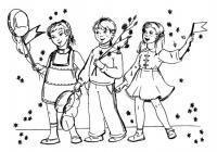 Детские раскраски на 1 мая дети с флажками и шарами