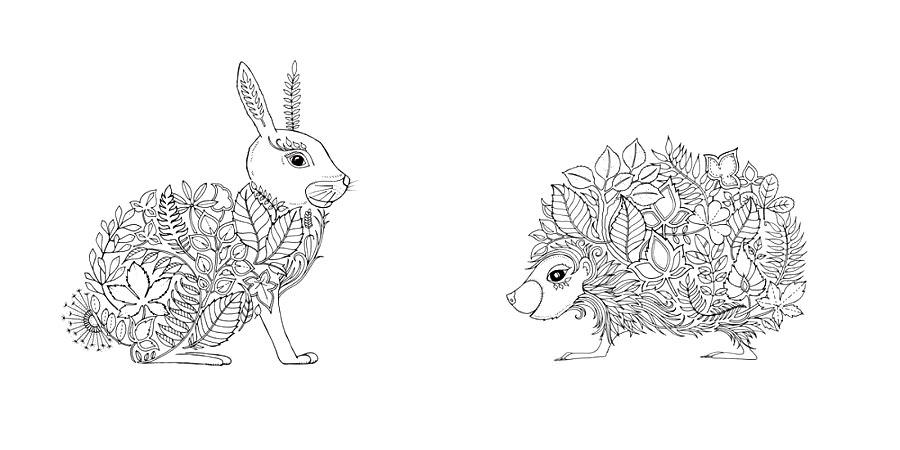 Детские раскраски для девочек и мальчиков, кролик и ежик
