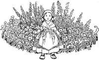 Детские раскраски для девочек и мальчиков, девочка на лужайке, полевые цветы