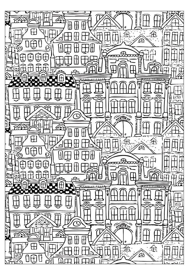 раскраски для взрослых антистресс распечатать города