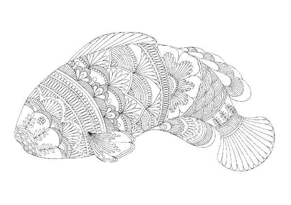 арт терапия раскраска рыба