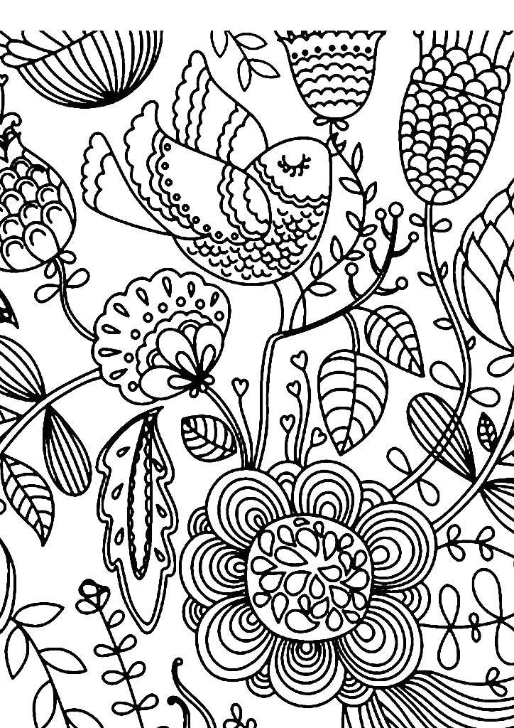 птица в цветах арт терапия раскраска скачать бесплатно