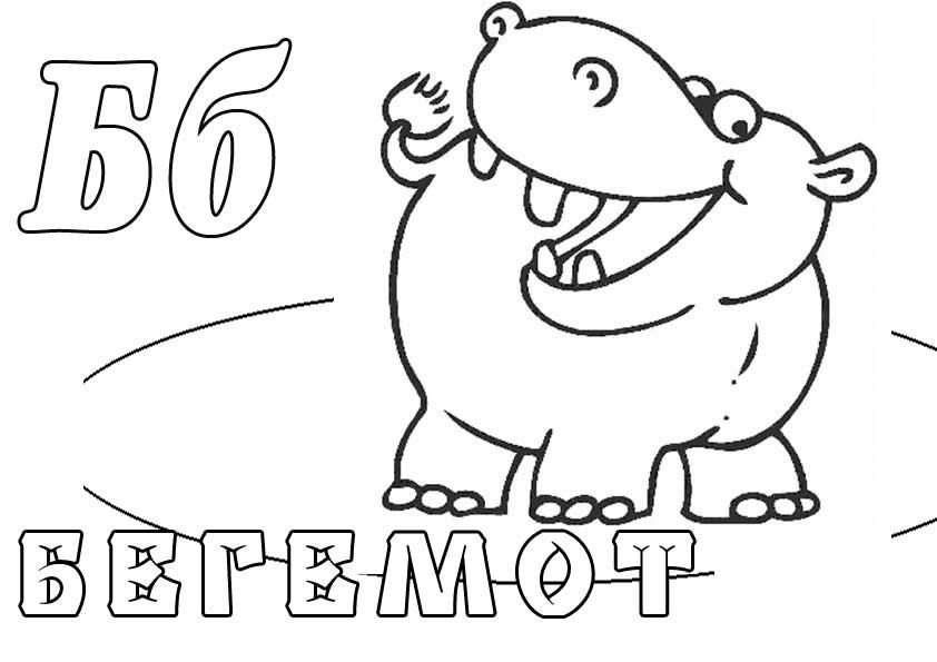 Раскраски животных. бегемот