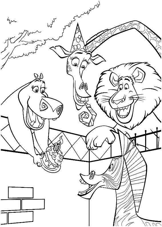 Мадагаскар раскраски для детей. картинки мадагаскар, бегемот, жираф, лев, зебра