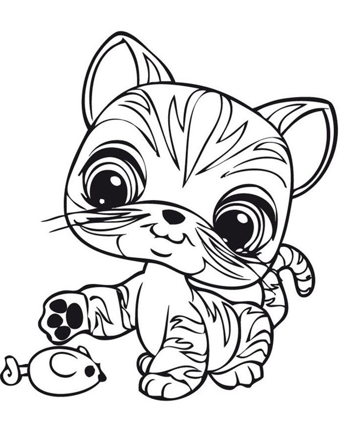 Детские раскраски для девочек и мальчиков, котенок играет с мышкой