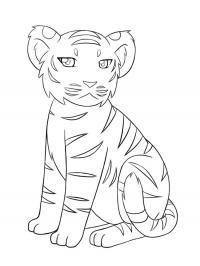 Скачать или распечатать раскраску, сидящий тигренок
