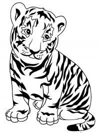 Скачать или распечатать раскраску, тигренок