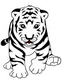 Скачать или распечатать раскраску, бегущий тигренок