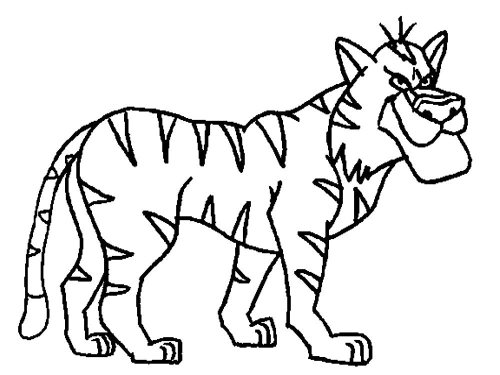 раскраски животные распечатать бесплатно тигр