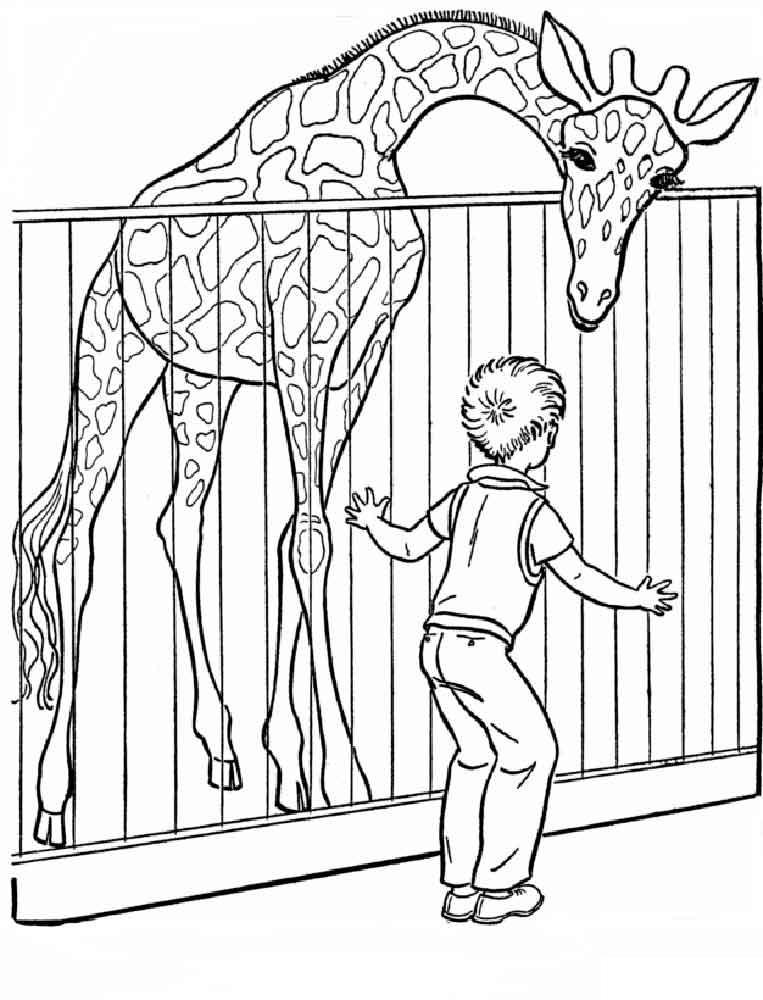 Скачать или распечатать раскраску мальчик с жирафон