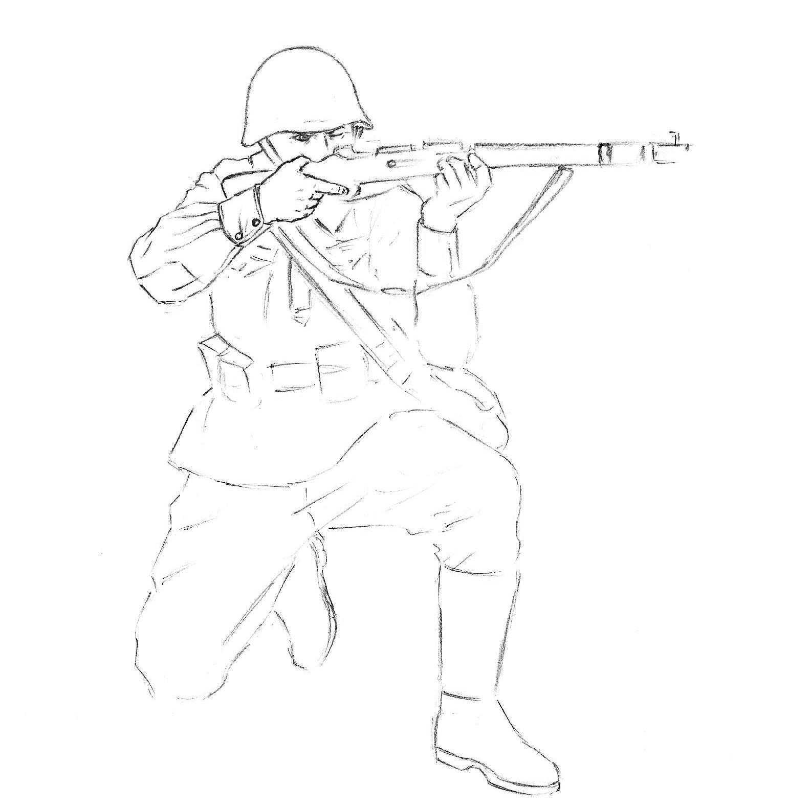 Как нарисовать солдата карандашом поэтапно для ребенка 64