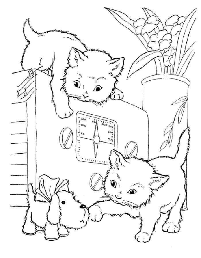 Детские раскраски для девочек и мальчиков, котята на радиоприемнике
