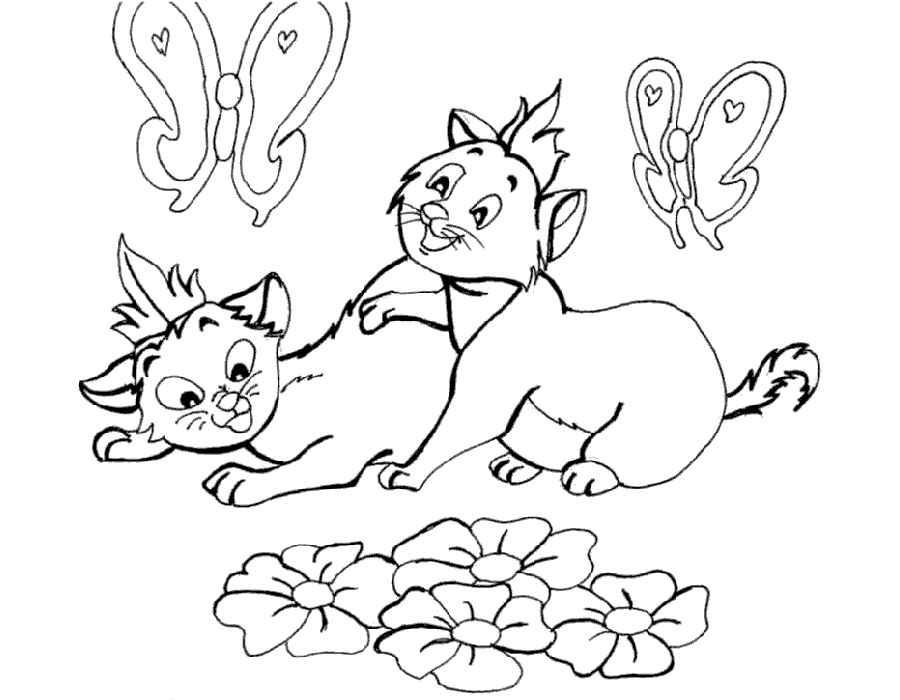 Детские раскраски для девочек и мальчиков, кошки и бабочки