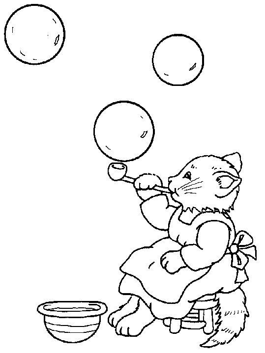 распечатать раскраску кошка надувает мыльные пузыри