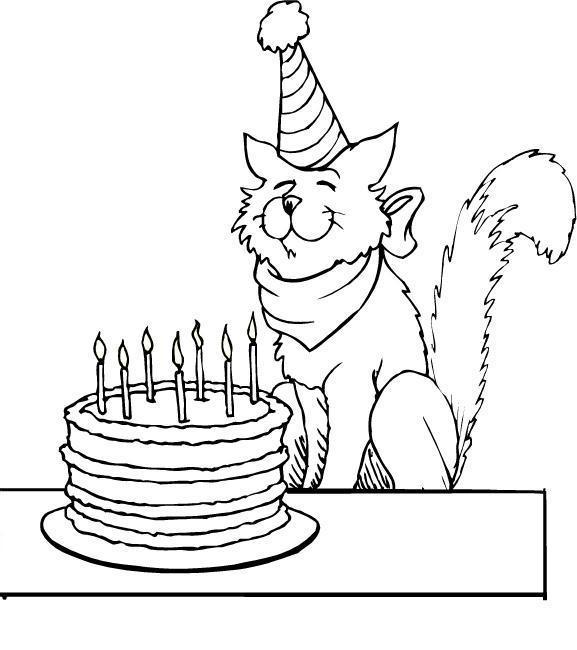 распечатать раскраску день рождение кошки
