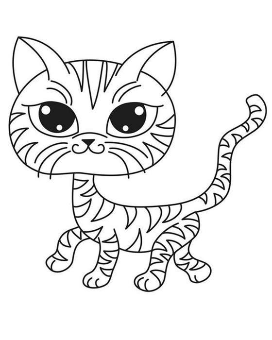 Раскраски кошки  раскраска полосатая кошка, для детей
