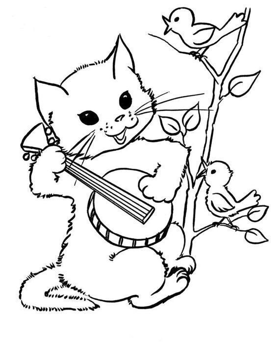 Раскраски кошки  котенок, птичка поет, дерево, балалайка