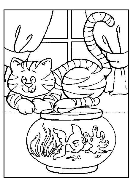 Распечатать раскраску кошка спит на окне возле аквариума
