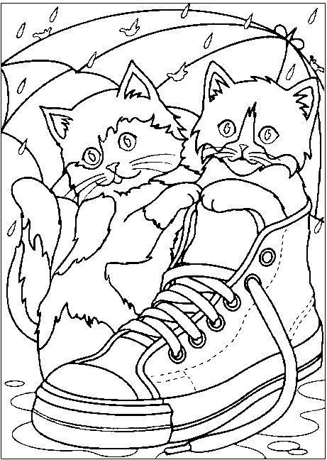 Распечатать раскраску кошки в ботинке под зонтиком