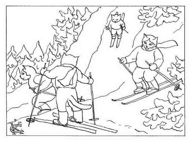 Распечатать раскраску кошки лыжники