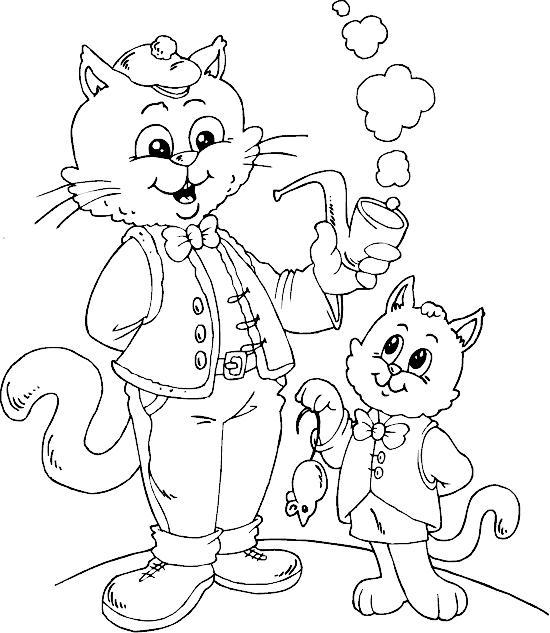 Распечатать раскраску кот с трубкой и котенок с мышкой