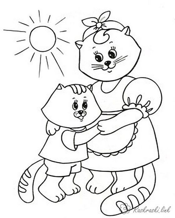 Раскраски кошки  раскраска кошка танцует с котенком, для детей