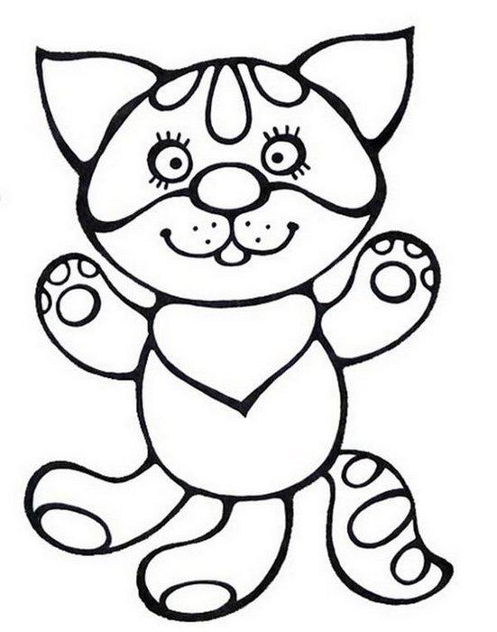 Раскраски кошки  раскраска домашний маленький котенок