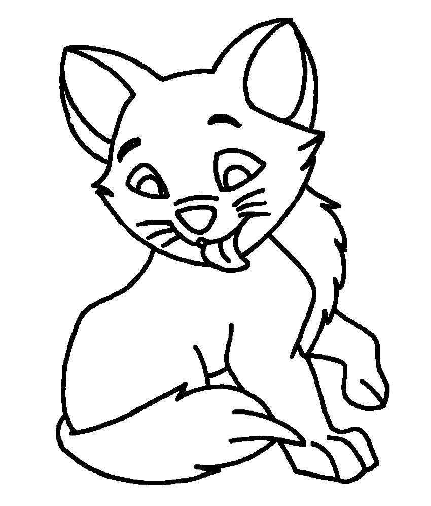 Раскраски для девочек кошка умывается язычком